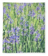 Bluebell Bluebells Flowers Blooming In Spring Fleece Blanket