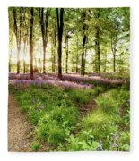 Bluebell Woods With Birds Flocking  Fleece Blanket