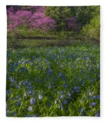 Bluebells And Redbuds Fleece Blanket