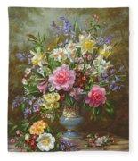 Bluebells Daffodils Primroses And Peonies In A Blue Vase Fleece Blanket