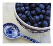 Blueberries And Spoon  Fleece Blanket