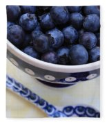 Blueberries In Polish Pottery Bowl Fleece Blanket