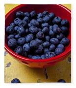 Blueberries In Red Bowl Fleece Blanket
