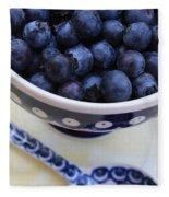 Blueberries With Spoon Fleece Blanket