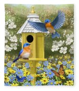 Bluebird Garden Home Fleece Blanket