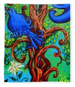 Bluebird In Tree Fleece Blanket