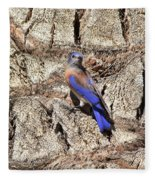 Bluebird On Canary Island Palm II Fleece Blanket
