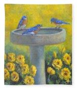Bluebirds On Birdbath Fleece Blanket
