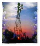 Bluebonnets And Windmill Fleece Blanket