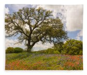 Bluebonnets Paintbrush And An Old Oak Tree - Texas Hill Country Fleece Blanket