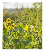 Bluejay And Sunflowers Fleece Blanket