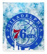 bluish backgroud for Philadelphia basket Fleece Blanket