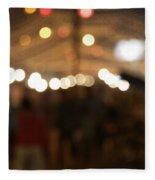 Blurred Delhi Street Scene At Night Fleece Blanket