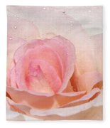 Blush Pink Dewy Rose Fleece Blanket