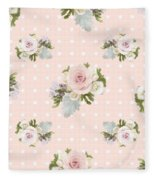 Blush Pink Floral Rose Cluster W Dot Bedding Home Decor Art Fleece Blanket