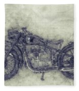 Bmw R32 - 1919 - Motorcycle Poster 1 - Automotive Art Fleece Blanket