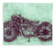 Bmw R32 - 1919 - Motorcycle Poster 3 - Automotive Art Fleece Blanket