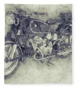 Bmw R60/2 - 1956 - Bmw Motorcycles 1 - Vintage Motorcycle Poster - Automotive Art Fleece Blanket