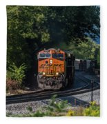 Bnsf Coming Around The Curve Fleece Blanket