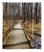 Boardwalk Over Golden Brown Iced Pond Fleece Blanket