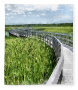 Boardwalk Through The Dunes Prince Edward Island Fleece Blanket