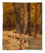 Boardwalk Through The Woods Fleece Blanket