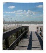 Boardwalk To The Beach Fleece Blanket