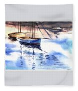 Boat And The River Fleece Blanket