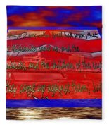 Boat As Art With Text Fleece Blanket