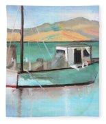 Boat At China Camp State Park Fleece Blanket