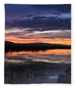 Boat At Sunset Fleece Blanket
