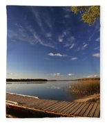 Boat Dock And Autumn Trees Along A Saskatchewan Lake Fleece Blanket