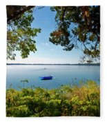 Boat Framed By Trees And Foliage Fleece Blanket