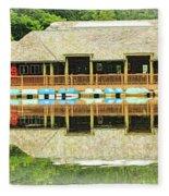 Boat House At Verona Park  Fleece Blanket