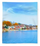 Boat House Row From West River Drive Fleece Blanket