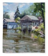 Boat Houses Fleece Blanket