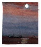Boat In The Moon Fleece Blanket