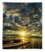 Boat Launch Sunrise Fleece Blanket
