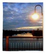 Boat Lights Sunset On Lady Bird Lake Fleece Blanket