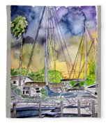 Boat Marina Fleece Blanket