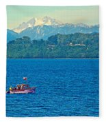 Boat On Llanquihue Lake From Puerto Varas-chile Fleece Blanket