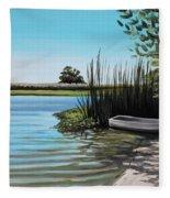 Boat On The Shadowed Beach Fleece Blanket