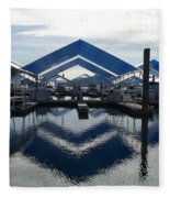 Boat Reflection On Lake Coeur D'alene Fleece Blanket