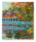 Boathouse At Mountain Lake Fleece Blanket
