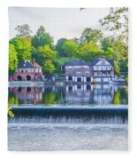 Boathouse Row - Framed In Spring Fleece Blanket