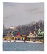 Boathouse Row On A Winter Morning Fleece Blanket