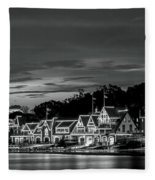 Boathouse Row Philadelphia Pa Night Black And White Fleece Blanket