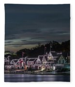 Boathouse Row Philly Pa Night Fleece Blanket