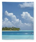 Boating In A Tahitian Lagoon Fleece Blanket