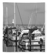 Boats And Reflections B-w Fleece Blanket